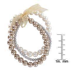 Roman Multi colored Faux Pearl 3 row Ribbon Stretch Bracelet