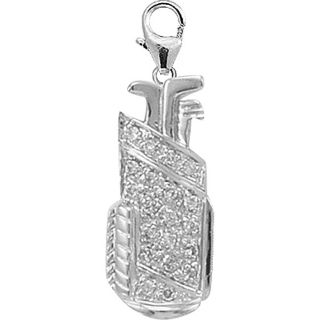 14k White Gold 1/10ct TDW Diamond Golf Bag Charm