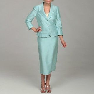 John Meyer Womens Light Turquoise 2 button Skirt Suit