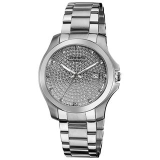 Akribos XXIV Mens Stainless Steel Crystal Pave Bracelet Watch