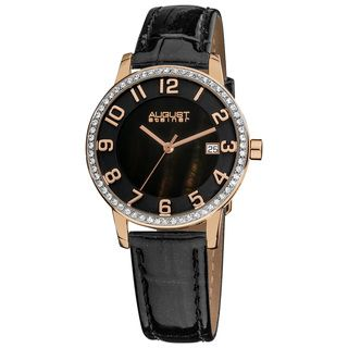 August Steiner Womens Swiss Quartz Mother of Pearl Crystal Strap
