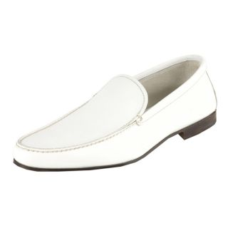 Prada Mens White Leather Loafers
