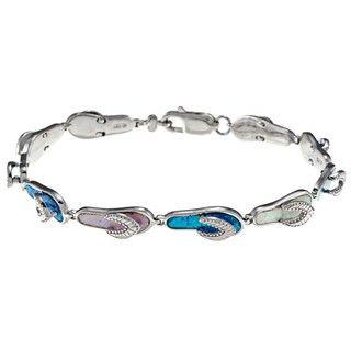 La Preciosa Silver Created Multi colored Opal Flip Flop Link Bracelet