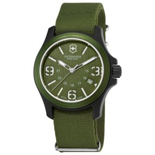 Victorinox Swiss Army Mens Original Green Dial/ Strap Watch