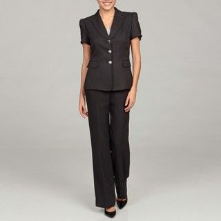 Tahari Womens Black Short Sleeve Pant Suit