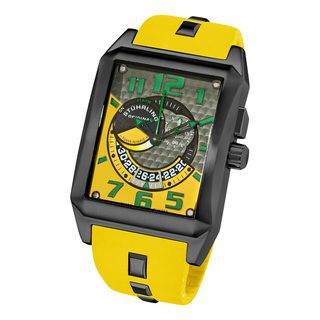 Stuhrling Original Mens Mad Man Complex Yellow Rubber Strap Watch