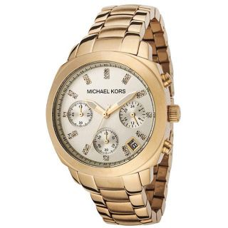 Michael Kors Womens Chronograph Goldtone White Crystal Watch