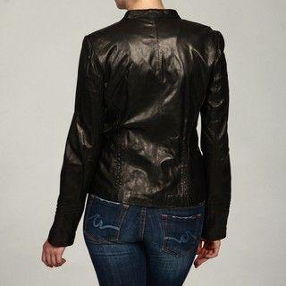 Tahari Womens Black Leather Moto Jacket