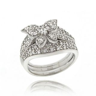 Icz Stonez Sterling Silver Cubic Zirconia Butterfly Ring Set (1 2/5ct