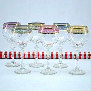 Italian Hand painted Wine Glass with 14K Gold Rim and Multicolor