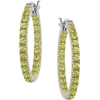 10k White Gold Yellow Sapphire Hoop Earrings