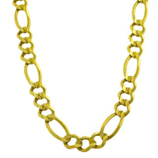 14k Yellow Gold Mens Solid 20 inch Figaro Link Necklace