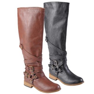 Journee Collection Womens Joy Buckle Detail Round Toe Tall Boots