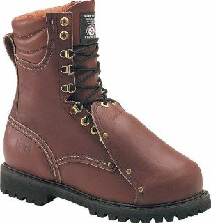 8in. Steel Toe   Broad Toe, Metatarsal Guard Brown Size 6.5 D Shoes