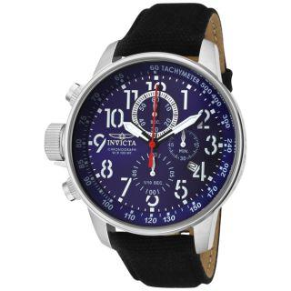 Invicta Mens Invicta II Blue Dial Black Leather Chronograph Watch