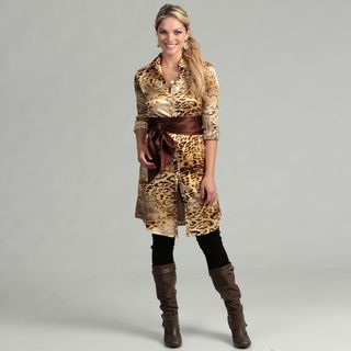 Issue New York Womens Animal Print Belted Shirt Dress