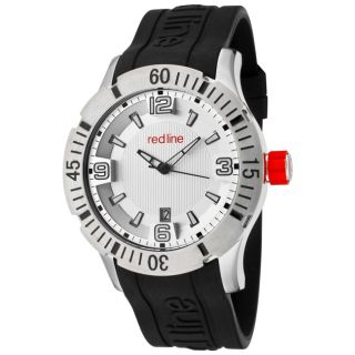 Red Line Mens Traction Silver Dial Black Silicon Watch