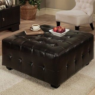 Abbyson Living Bentley Bonded Leather Square Cocktail Ottoman
