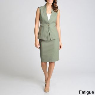Sharagano Suits Womens Cotton Sleeveless Skirt Suit