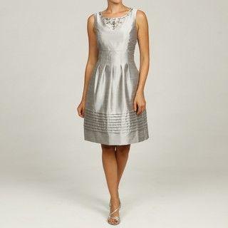 Jessica Howard Womens Silver Pleated Neck Dress
