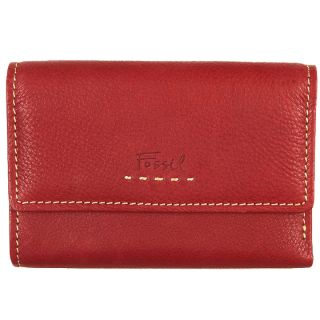 Fossil Womens Popstitch Red Leather Tri fold Wallet