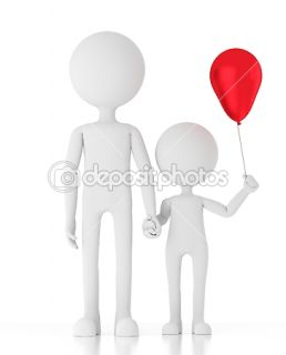 3d person holding childs hand with a red balloon  Stock Photo
