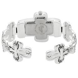 Geneva Womens Platinum Cross Cuff Watch