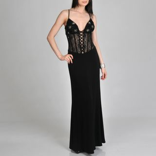 Janine of London Womens Sheer Lace up Corset Long Dress