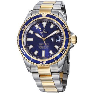 Kadloo Mens Ocean Date Blue Dial Two Tone Stainless Steel Watch