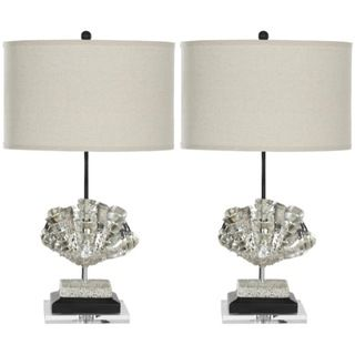 Indoor 1 light Silver Sea Shell Table Lamps (Set of 2)