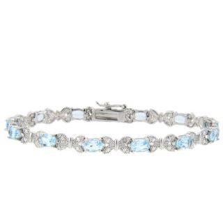 Sterling Silver Blue Topaz and Diamond Accent Butterfly Bracelet