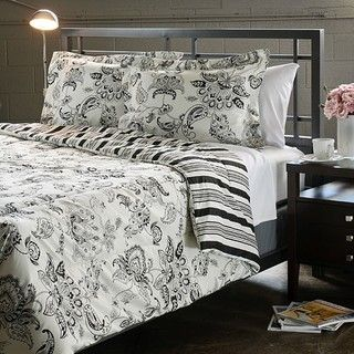 Cordoba Black Full/ Queen size 3 Piece Duvet Cover Set