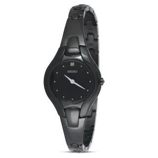 Seiko Womens Diamond Black Ion plated Dress Watch