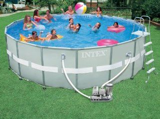 Intex Ultra Frame 18 Foot by 52 Inch Round Pool Set Patio