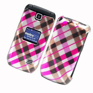 Glossy 2D Image Case Check Pink Brown And Black 153
