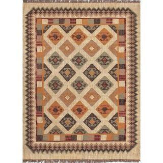 Handmade Flat Weave Tribal Multicolor Jute Rug (5 x 8)