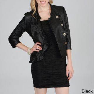Hanna & Gracie Womens 3/4 Sleeve Jacket with Ruffle Front Detail