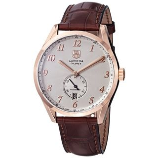 Tag Heuer Mens Carrera Silver Dial Rose Gold Brown Strap Watch