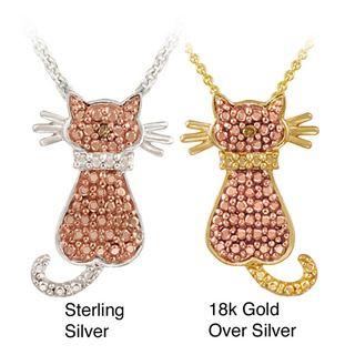 DB Designs Champagne Diamond Accent Cat Necklace