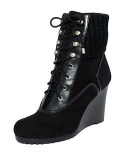 Tracy Cosy Womens Size 7.5 Black Suede Fashion   Ankle Boots Shoes