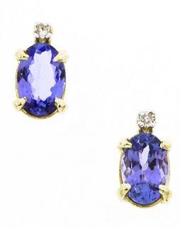 14k Yellow Gold Tanzanite Diamond Earrings