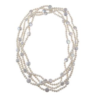 Cultured White Freshwater Pearl 100 inch Endless Necklace (5 11 mm