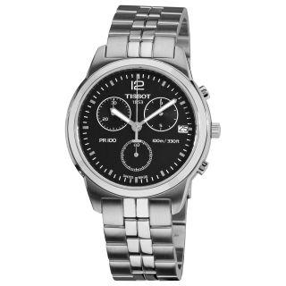 Tissot Mens PRC 100 Black Chronograph Dial Quartz Watch