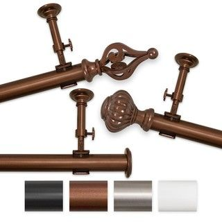 Elegant Touch 100 to 144 inch Adjustable Curtain Rod Set