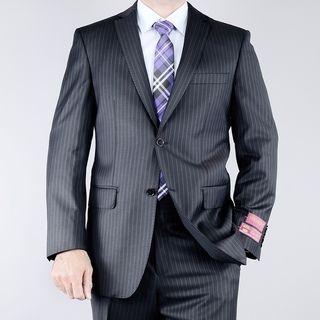 Mantoni Mens Classic Fit Multi Striped Black 2 button Wool Suit