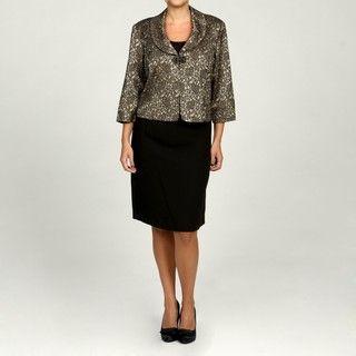 Jessica Howard Womens Plus Size Black/ Champagne 2 piece Jacket Dress
