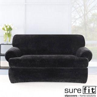 Stretch Plush Black T cushion Loveseat Slipcover