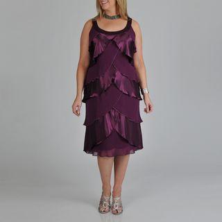 Fashions Womens Plus Plum Tulip Tiered Dress