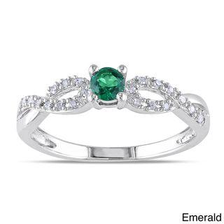 Miadora Silver Created Gemstone and 1/10ct TDW Diamond Ring (H I, I2