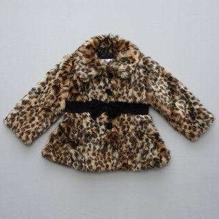 KC Collection Toddler Girls Leopard Faux Fur Jacket FINAL SALE